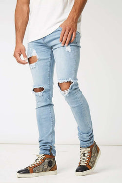 Section Clo Dalli Zipped Distressed Jeans - Light Blue