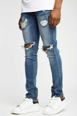 Section Clo Frida Zipped Distressed Jeans - Navy