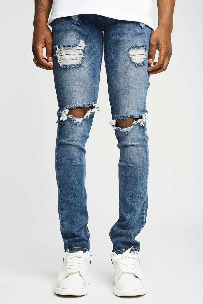 Section Clo Frida Zipped Distressed Jeans - Navy - 3