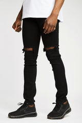 Section Clo Knee Rip Jeans - Black