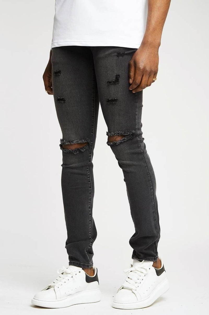 Section Clo Knee Rip Jeans - Grey