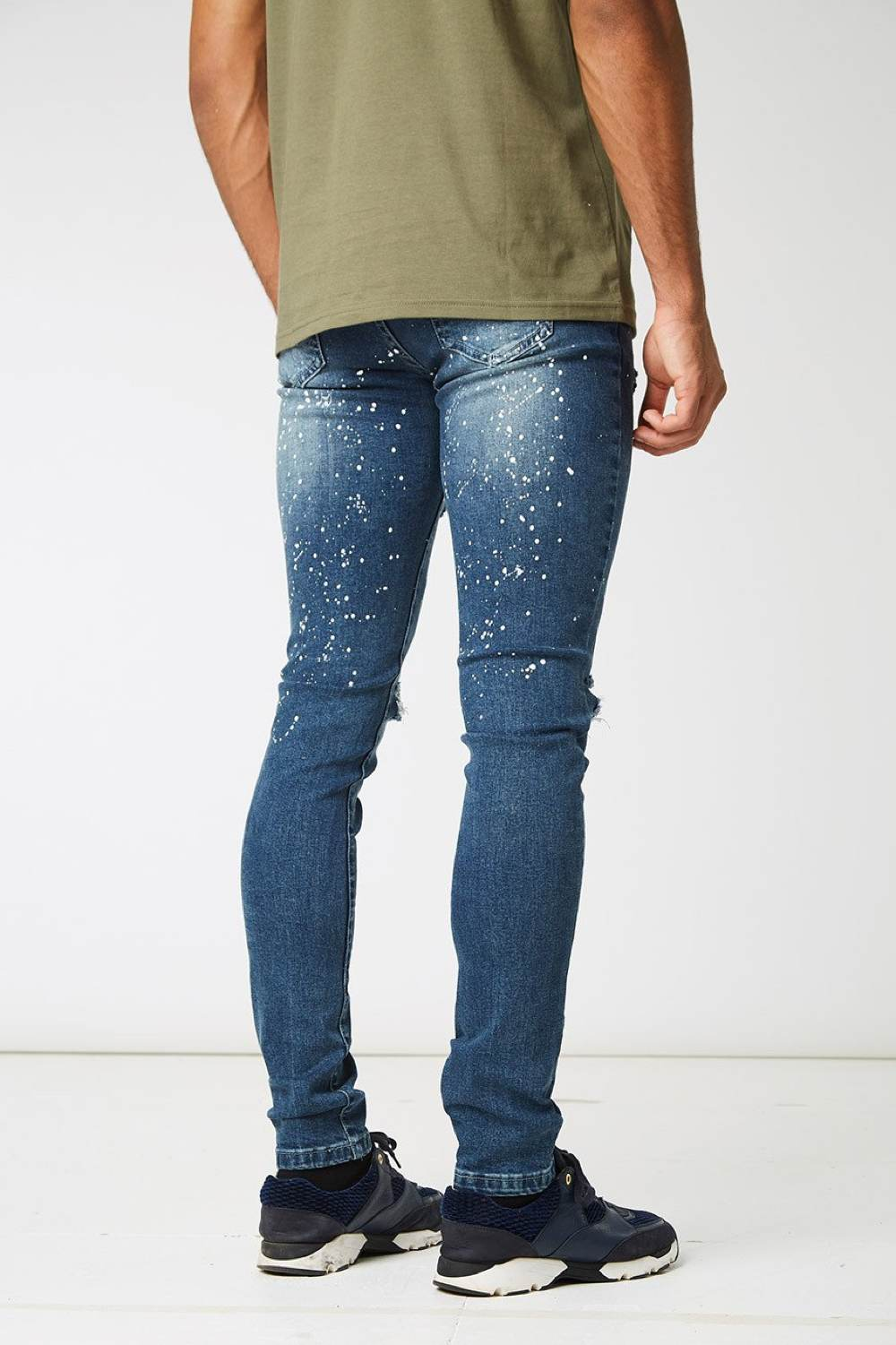 Section Clo Monet Paint Splash Ripped Jeans - Blue - 4
