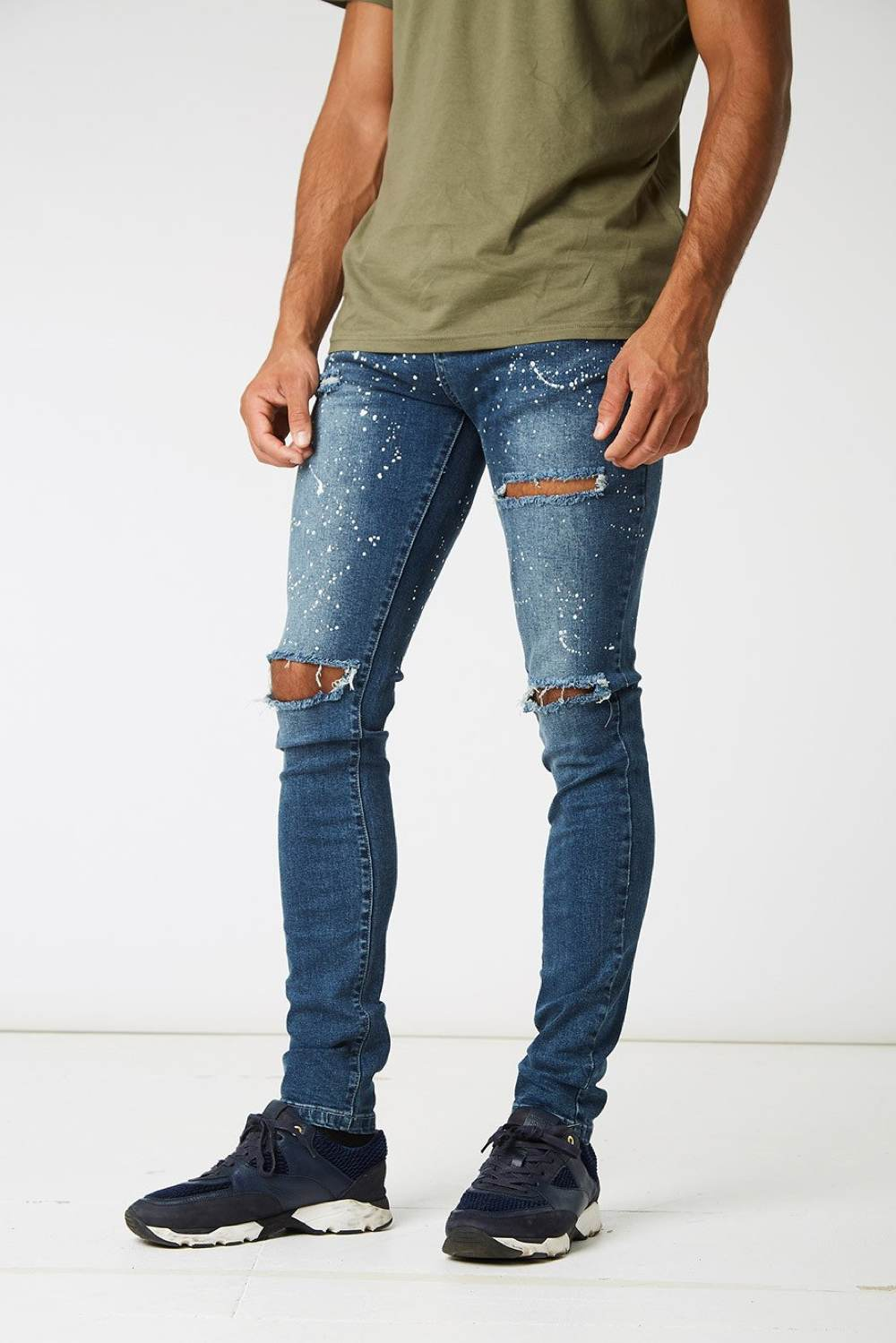 Section Clo Monet Paint Splash Ripped Jeans - Blue - 1