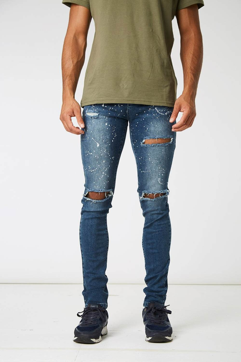 Section Clo Monet Paint Splash Ripped Jeans - Blue - 3