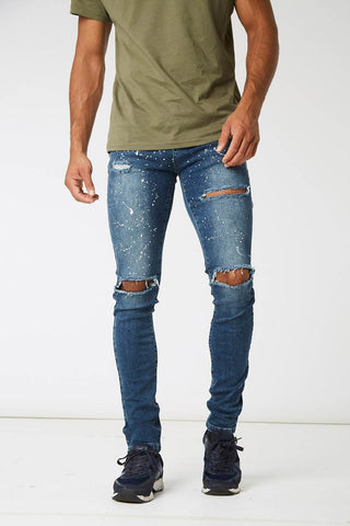 Section Clo Monet Paint Splash Ripped Jeans - Blue