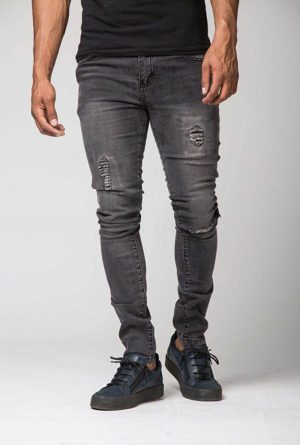 Section Clo Templar Ripped & Repaired Jeans - Grey