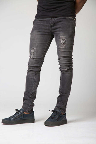 Section Clo Templar Ripped & Repaired Jeans - Grey - 1