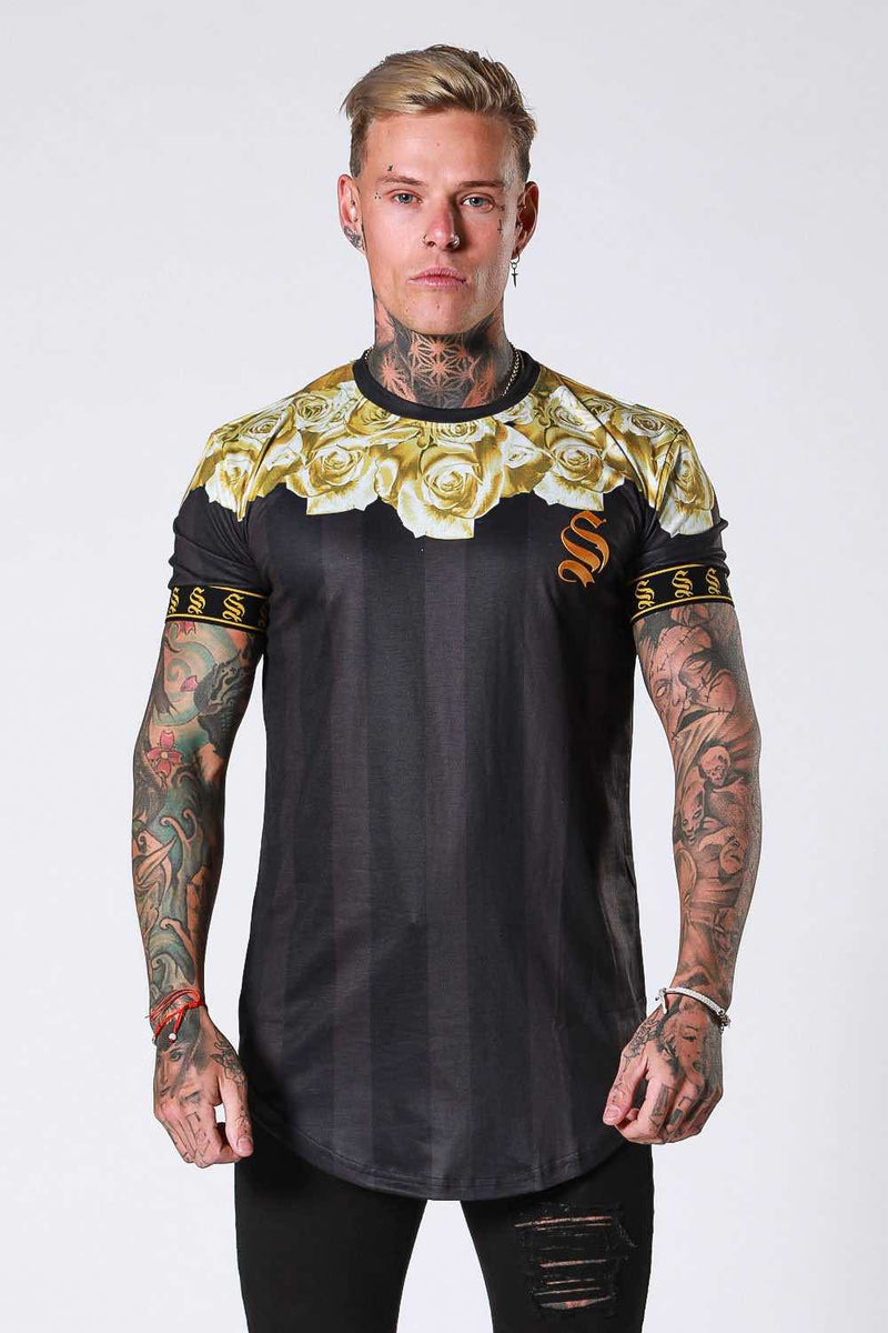 SNRS Rose Garland T-Shirt - Black/Gold
