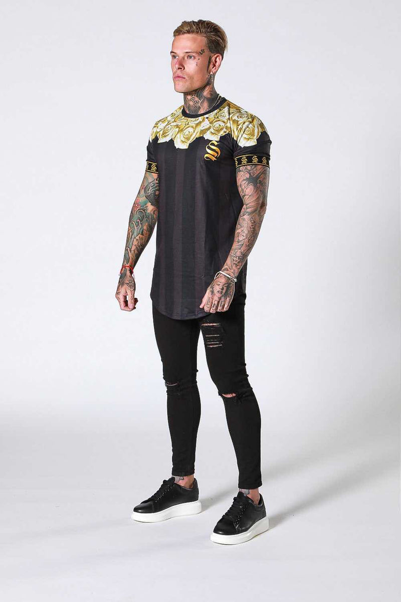 SNRS Rose Garland T-Shirt - Black/Gold - 1