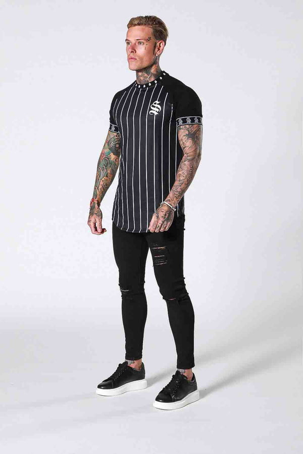 SNRS Pinstripe Tape T-Shirt - Black - 1