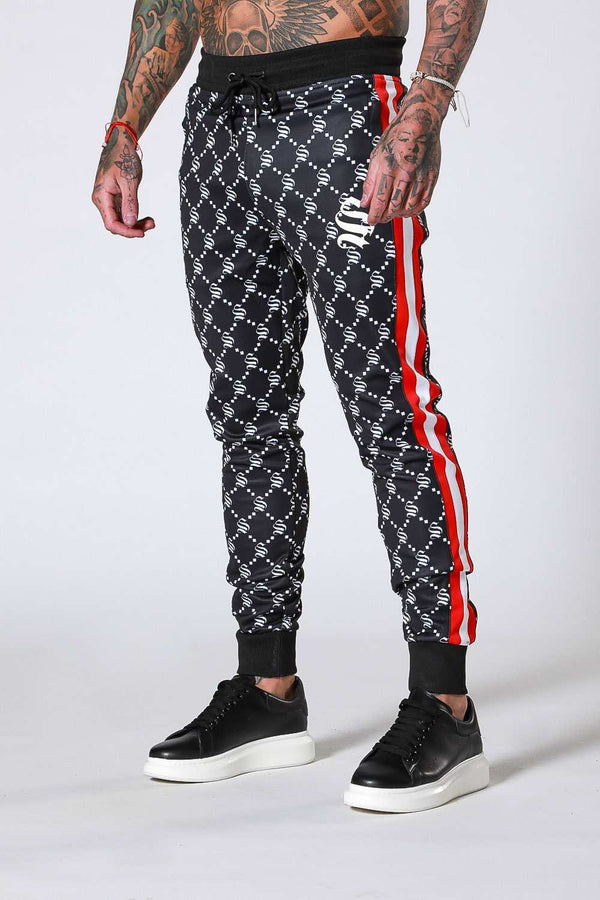 SNRS Monogram Poly Joggers - Black - 1