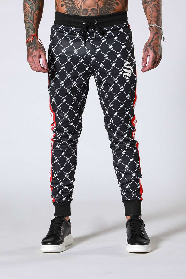 SNRS Monogram Poly Joggers - Black