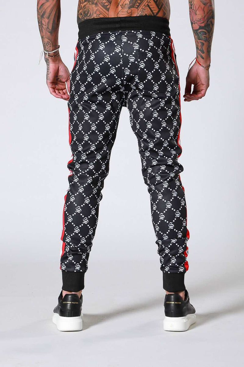 SNRS Monogram Poly Joggers - Black - 2