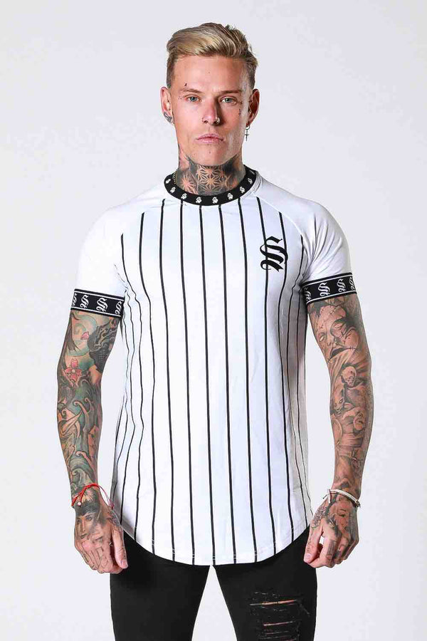 SNRS Pinstripe Tape T-Shirt - White