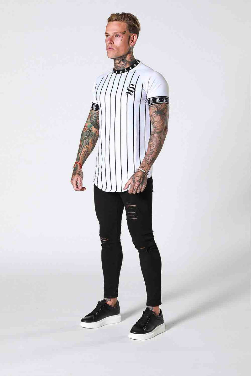 SNRS Pinstripe Tape T-Shirt - White - 1