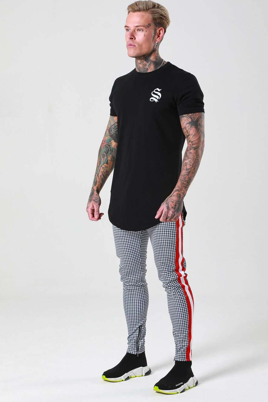 Sinners Attire Dogtooth Track Joggers - Grey/Red - 2