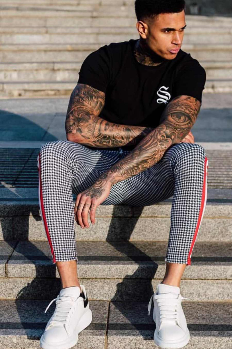 Sinners Attire Dogtooth Track Joggers - Grey/Red