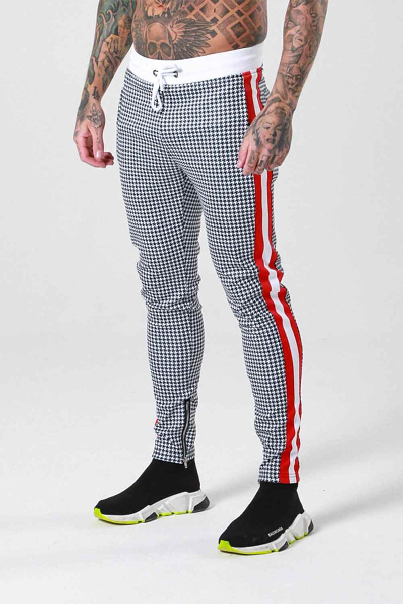 Sinners Attire Dogtooth Track Joggers - Grey/Red - 1