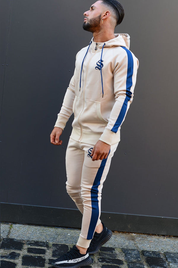 Sinners Attire Poly Tracksuit Joggers - Sand/Navy