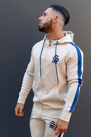 Sinners Attire Poly Tracksuit Hoodie - Sand/Navy - 1