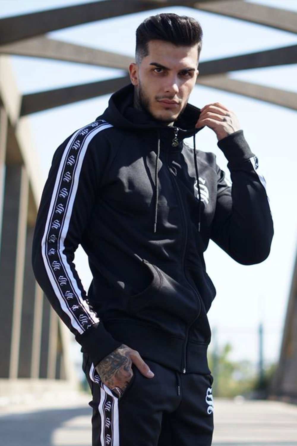 Sinners Attire Poly Tracksuit Tape Hoodie - Black
