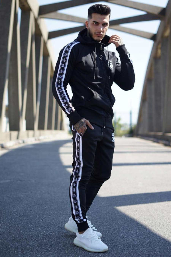 Sinners Attire Poly Tracksuit Tape Joggers - Black - 1