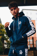 Sinners Attire Poly Tracksuit Tape Hoodie - Navy