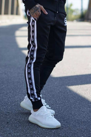 Sinners Attire Poly Tracksuit Tape Joggers - Black