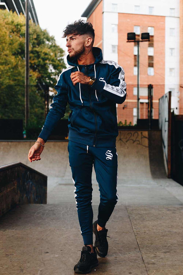 Sinners Attire Poly Tracksuit Tape Joggers - Navy -1
