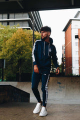 Sinners Attire Poly Tracksuit Tape Joggers - Navy