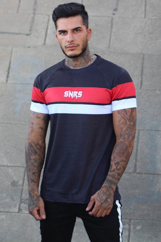 Sinners Attire Racer Stripe T-Shirt - Black
