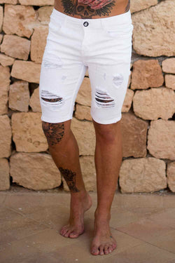 Sinners Attire Ripped and Repaired Denim Shorts - White