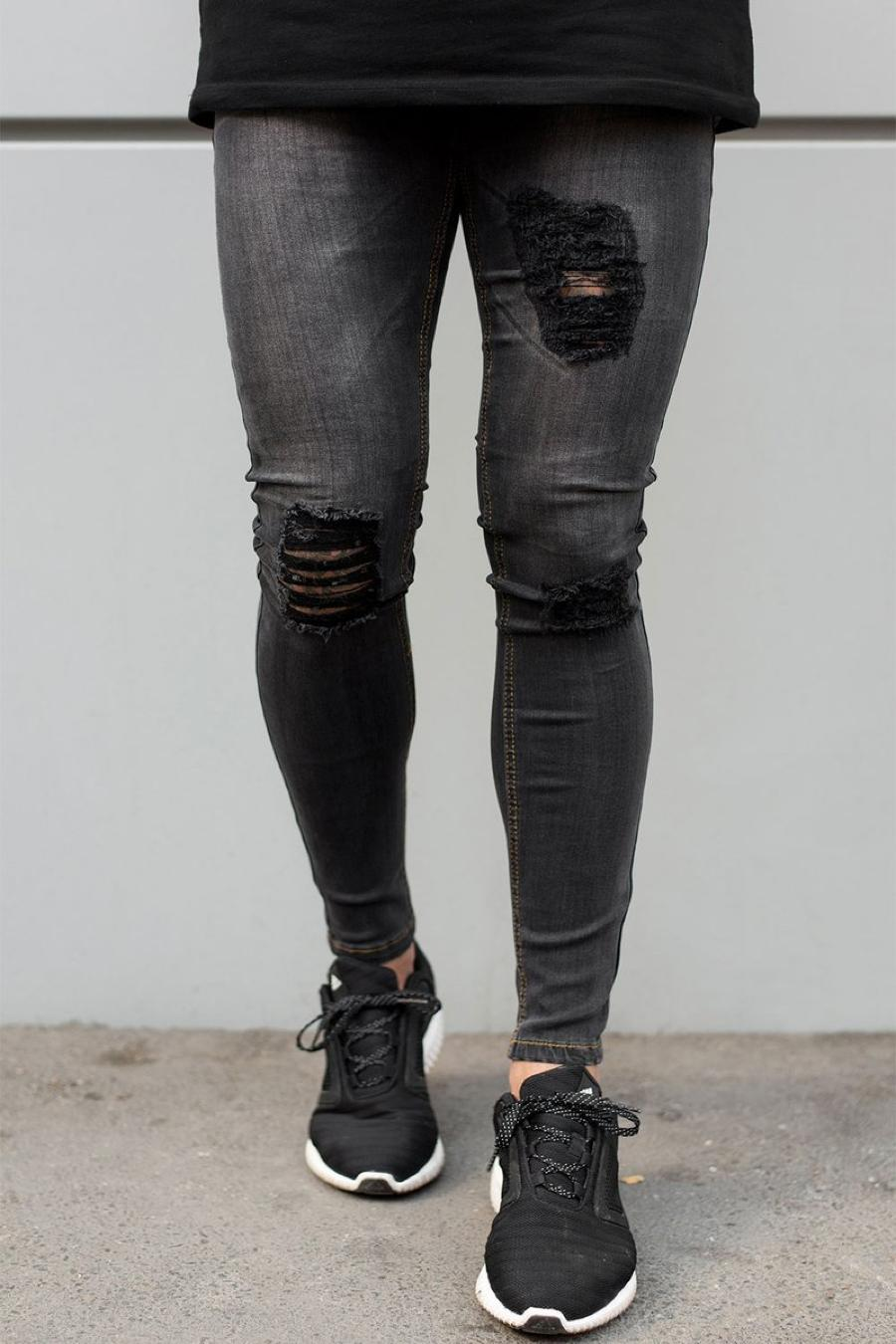 Sinners Attire Ripped and Repaired Jeans - Grey