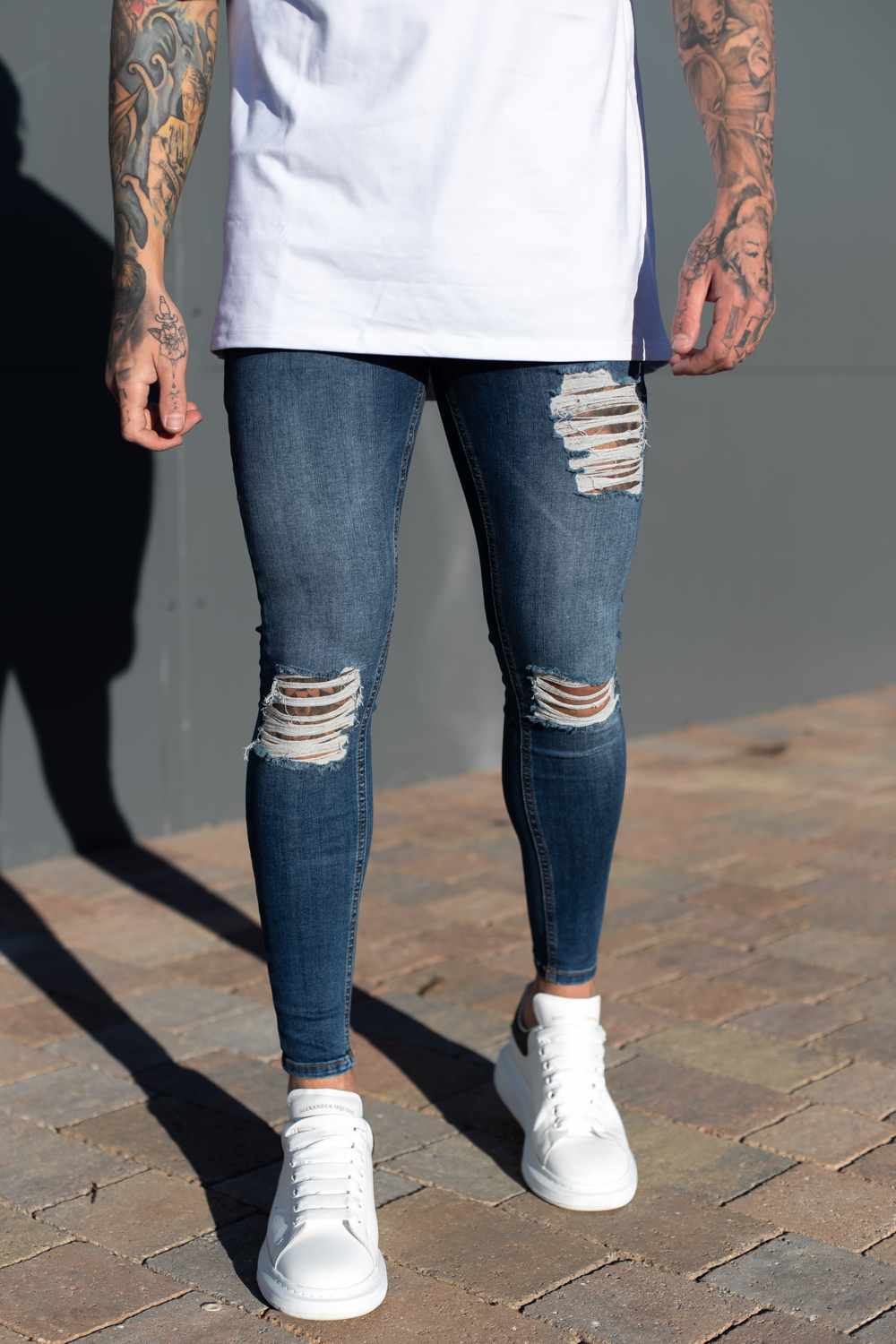 Sinners Attire Ripped and Repaired Jeans - Navy - 2