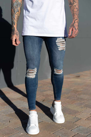 Sinners Attire Ripped and Repaired Jeans - Navy