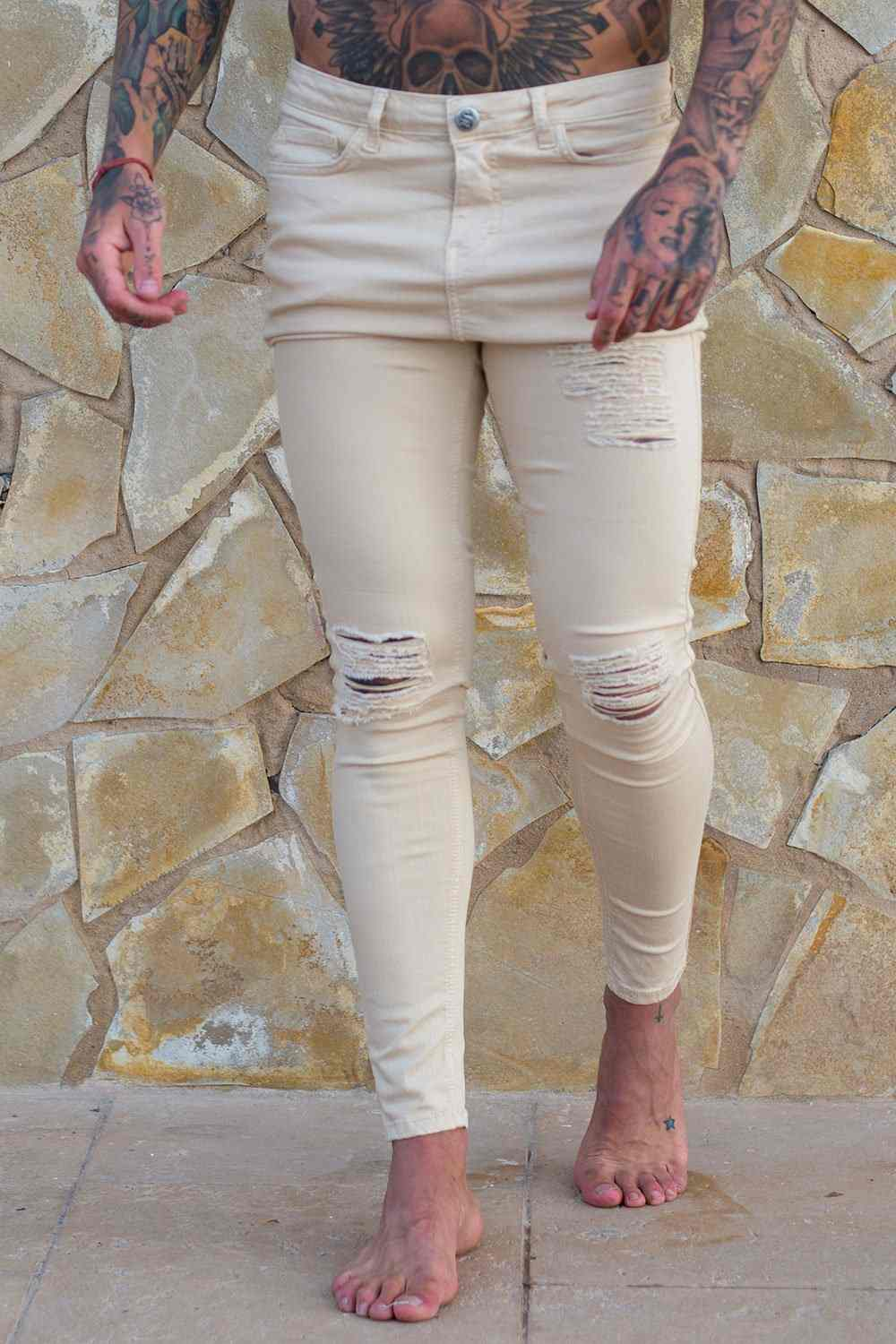 Sinners Attire Ripped and Repaired Jeans - Sand