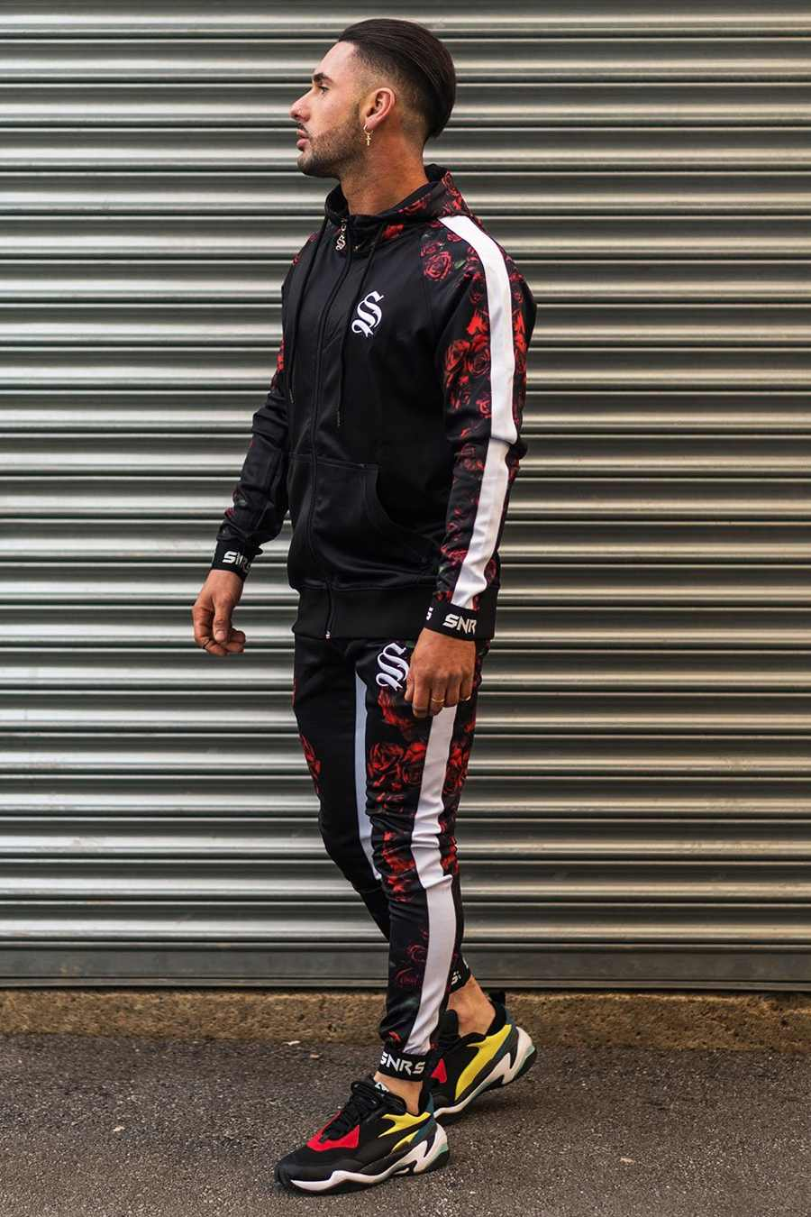 Sinners Attire Rose Poly Tracksuit Hoodie - Black - 1