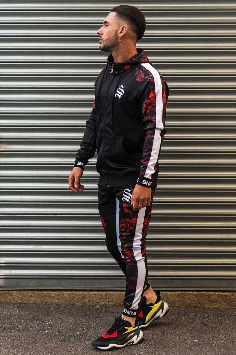Sinners Attire Rose Poly Tracksuit Joggers - Black - 1
