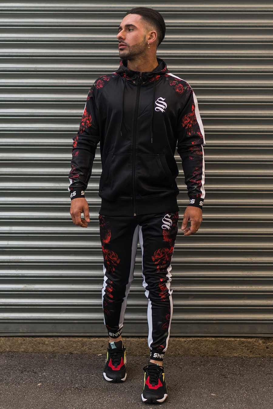 Sinners Attire Rose Poly Tracksuit Hoodie - Black - 2