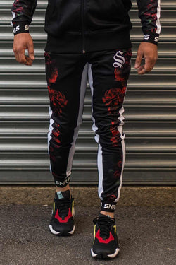 Sinners Attire Rose Poly Tracksuit Joggers - Black
