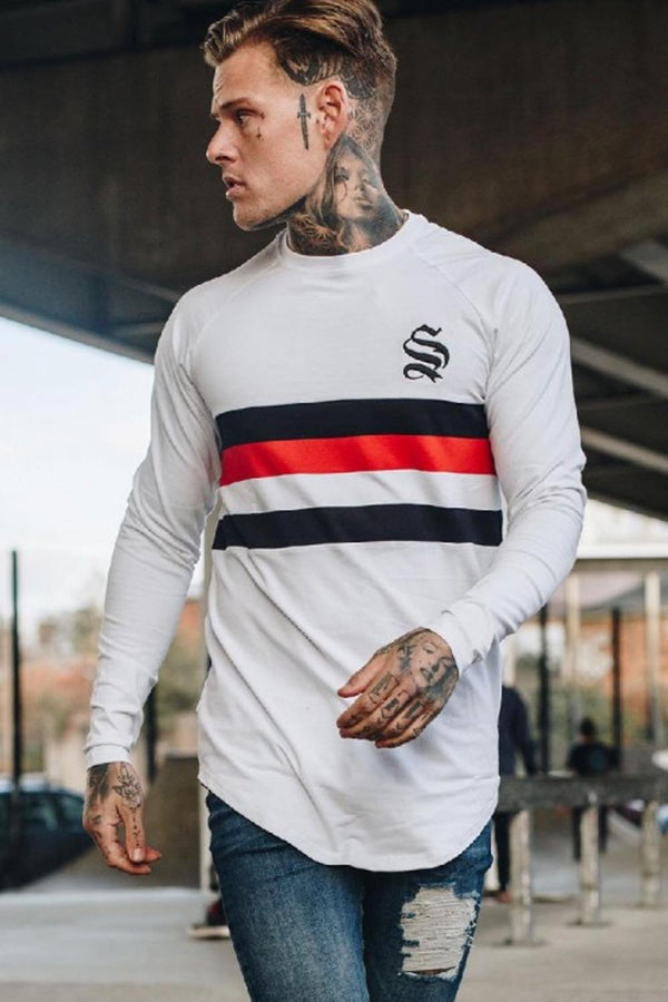 Sinners Attire SNRS Long Sleeve Raglan T-Shirt - White/Black/red