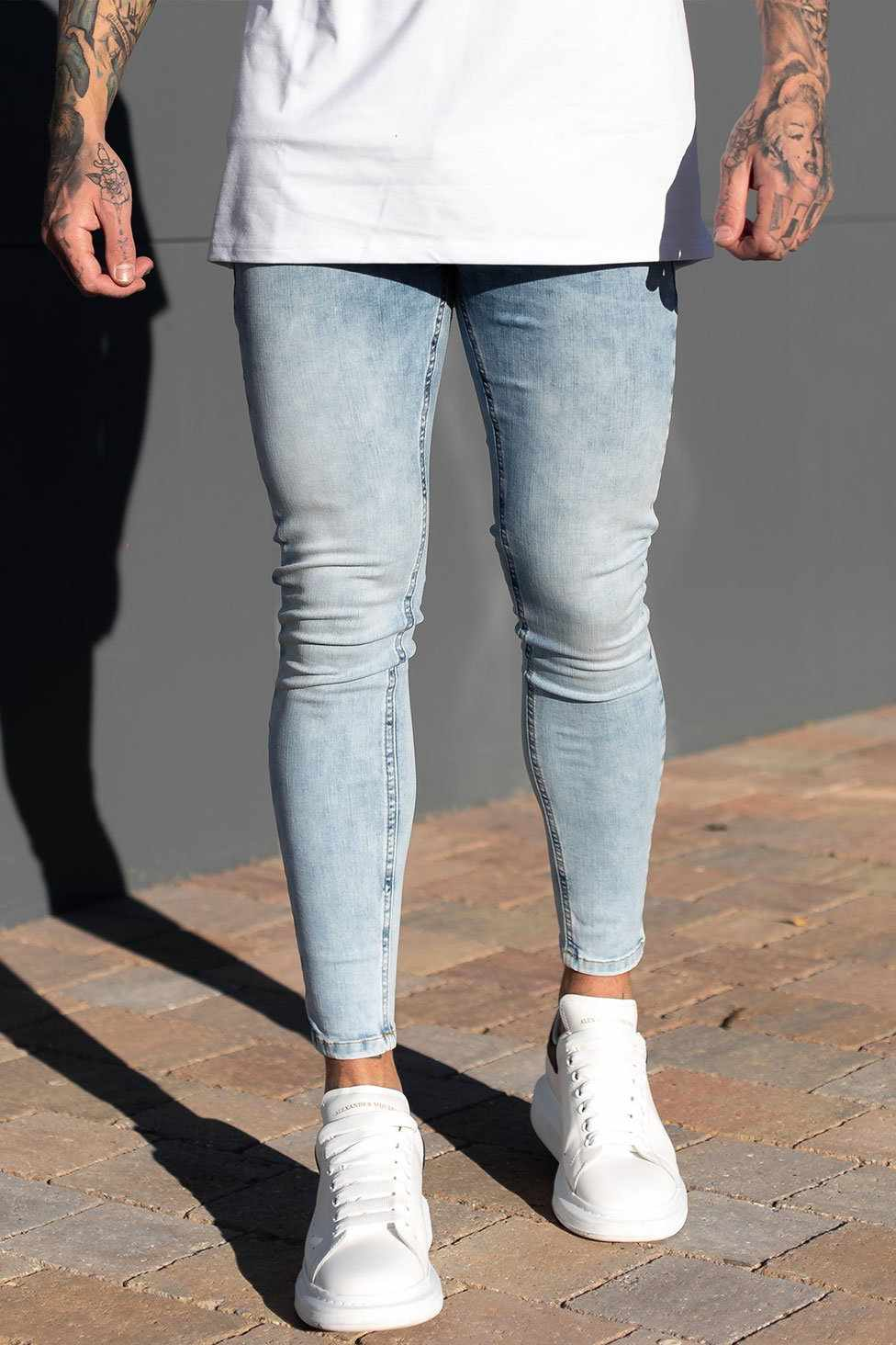 Sinners Attire Super Spray On Jeans - Light Blue
