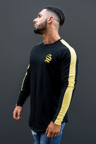 Sinners Long Sleeve Core Tee - Black/Yellow - 1