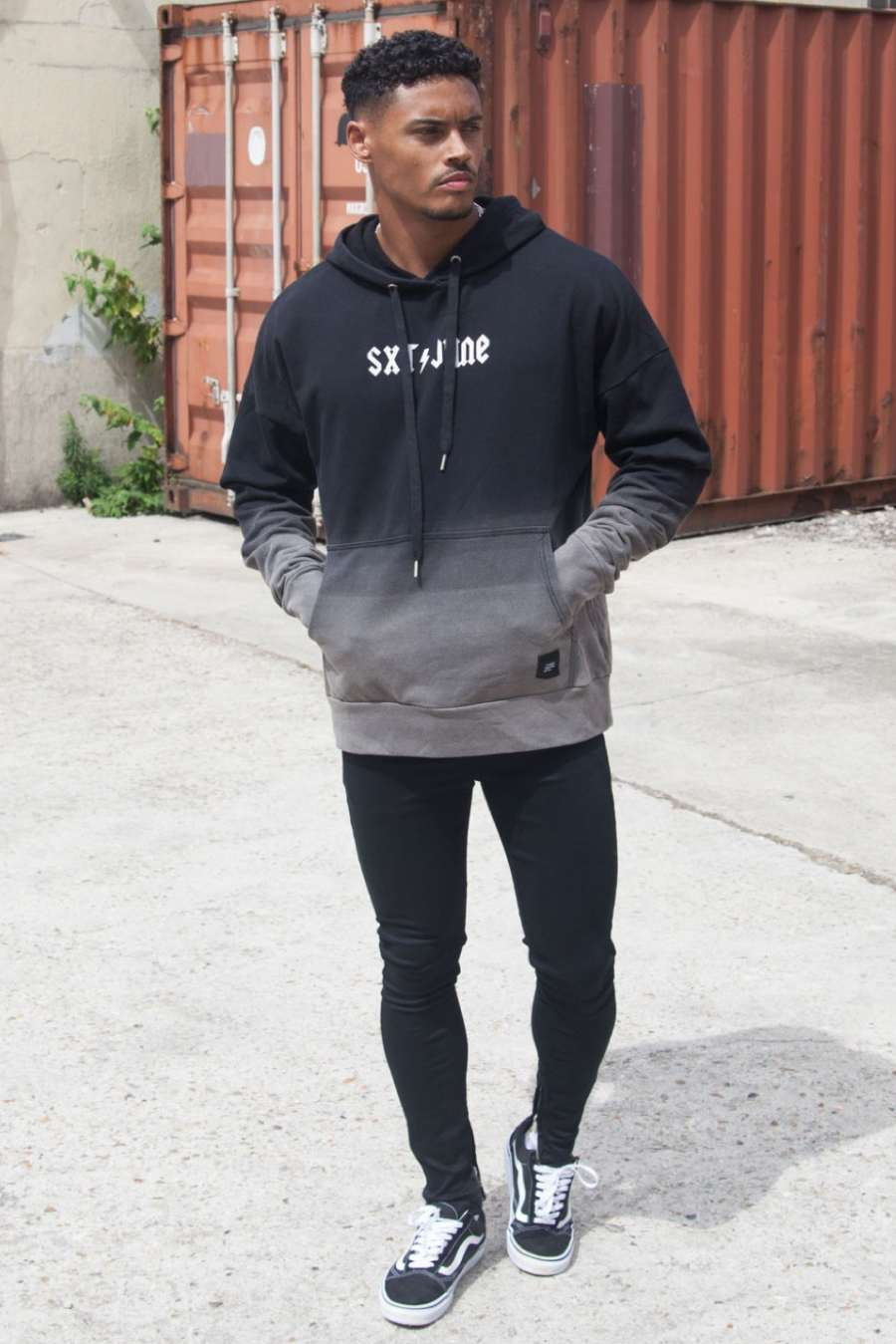 Sixth June Dip Dye Hoodie - Black/Grey - 2