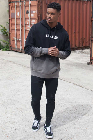 Sixth June Dip Dye Hoodie - Black/Grey