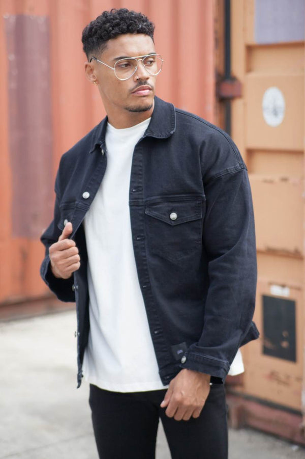 Sixth June Drop Shoulder Denim Jacket - Black - 1