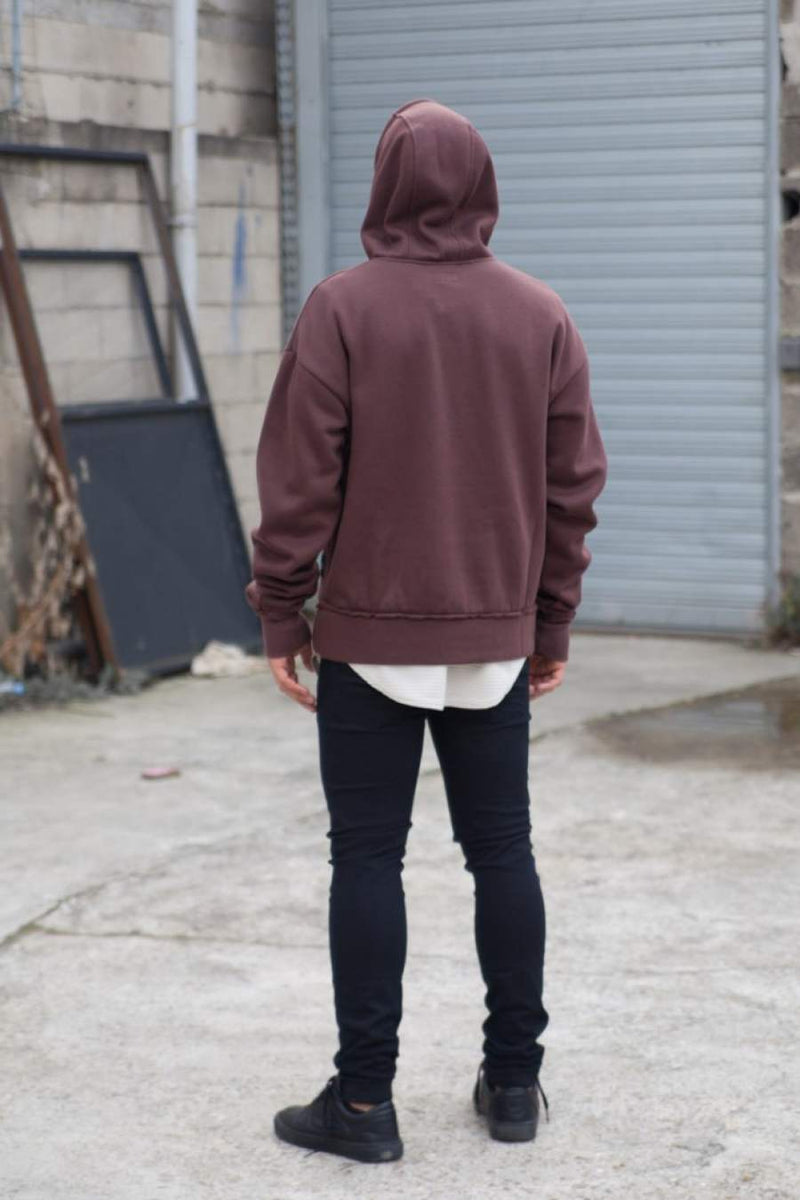 Sixth June Raw Edge Hoodie - Maroon - 2