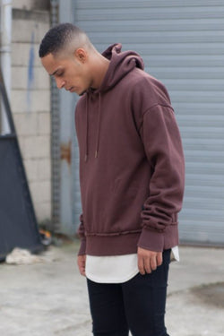 Sixth June Raw Edge Hoodie - Maroon - 1
