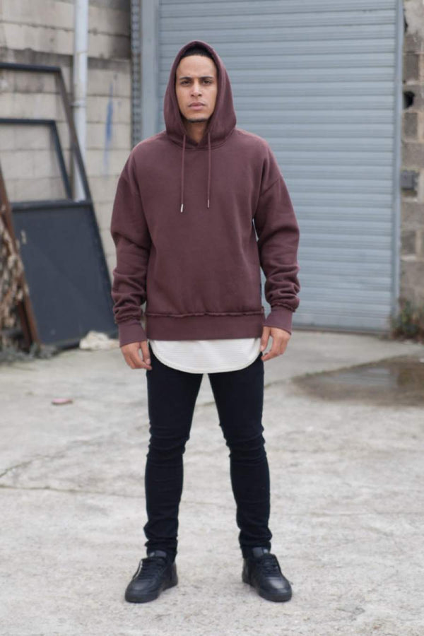 Sixth June Raw Edge Hoodie - Maroon
