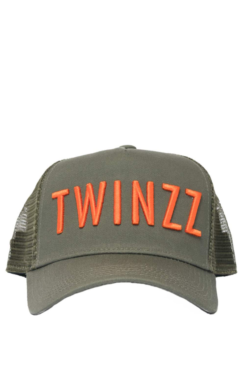 Twinzz 3D Mesh Trucker Cap - Olive/Orange - 1